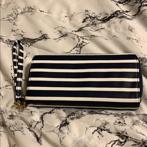 Navy/white striped Wristlet/Wallet